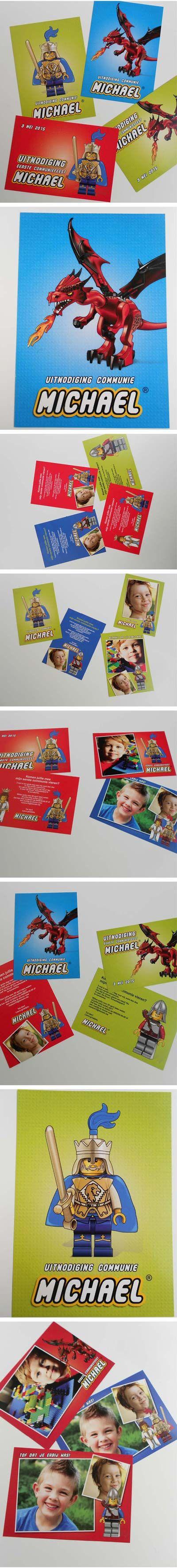 Lego communiekaarten met draak, ridder en koning. Bezorg foto's en tekst. Wij maken de #communiekaartjes. Proef via e-mail. Na goedkeuring leveren we drukwerk. http://www.kaartencollectie.be/nl/communiekaart-lego-koning-en-draak-1049.htm
