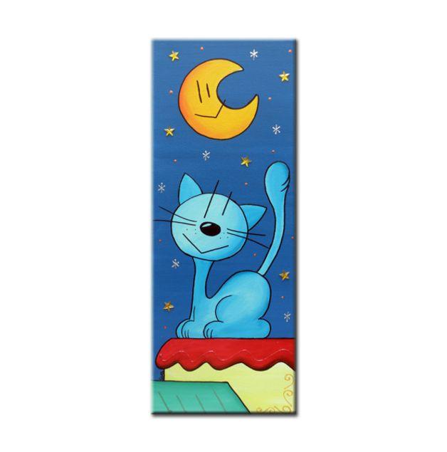 El gato Max contemplando la luna y las estrellas encima de un tejado.  Cuadro realizado sobre tela 100% algodón de primera calidad (300 g/m2), de fabricación europea. Pintado a mano utilizando...