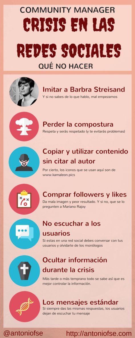 Qué NO hacer en una crisis en Redes Sociales #infografia #infographic #socialmedia