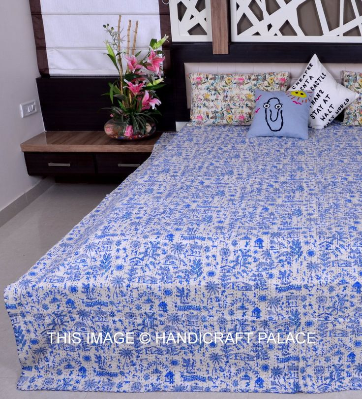 << $12 OFF >> Special sale on Indian Queen Kantha Quilt Floral Handmade Bedding Bedspread Traditional Bed Cover. Kantha work Cotton Quilt Gudari, Throw, ralli. * Queen size kantha Stitch Quilt,Blanket, Throw. White Base on Blue Color Village Pattern on the front side. Kantha stitches give enough strength and durability for washing, it can be Hand washed. Two Layer of cotton quilt is hand embroidered with end number of straight stitches to create a uniqueproduct. #gift #hanicraftpalace…