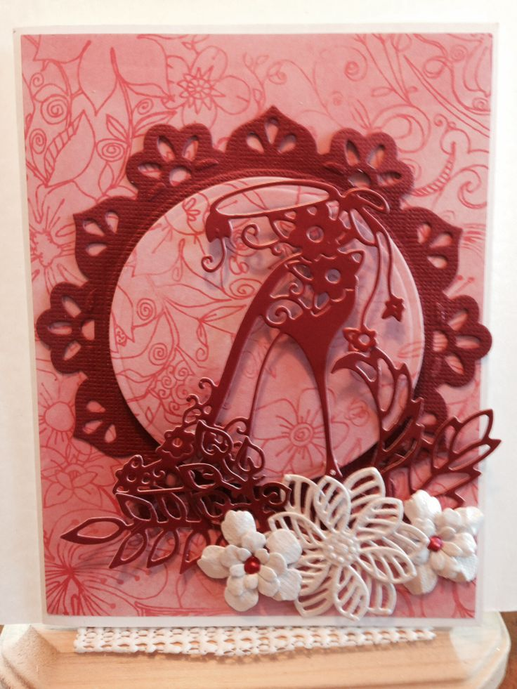 Tattered Lace Shoe die, Sue Wilson's Faux Quilled Blooms dies, Memory Box Leaves dies, Spellbinders   Die, other flowers made with Fiskars punch, Liquid Pearls, The Paper Studio Pearlized card stock, DCWV Bright Metallics card stock