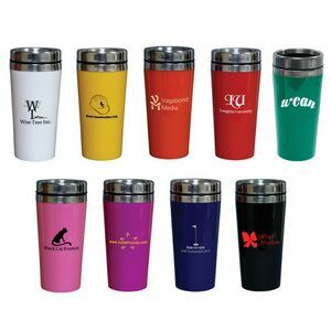 14oz/414ml Stainless Steel Coffee Tumbler Double-walled stainless steel interior with a glossy plastic exterior. Thumb slide screw top closure. BPA free. Individually gift boxed.