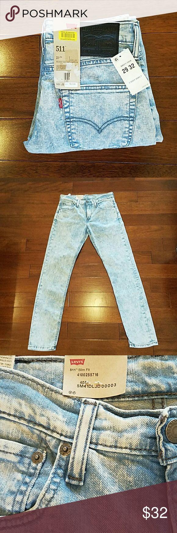 Men's Levi's Jeans 29x32 BRAND NEW WITH TAGS. Men's Levi's Jeans 29x32, slim fit, light blue color, with white speckles on the light blue jeans. 511 jeans. Levi's Jeans Slim