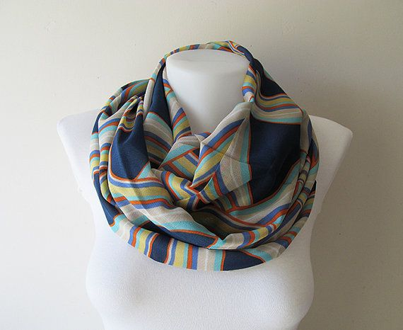 Navy Blue Infinity Scarf Colorful Pattern Chiffon Scarf