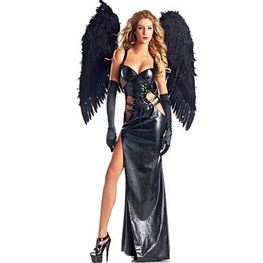 Cosplay Party Costume Sexy Dark Angel Uniform(With Wings) Halloween Black Solid Terylene Dress / More Accessories – AUD $ 63.28