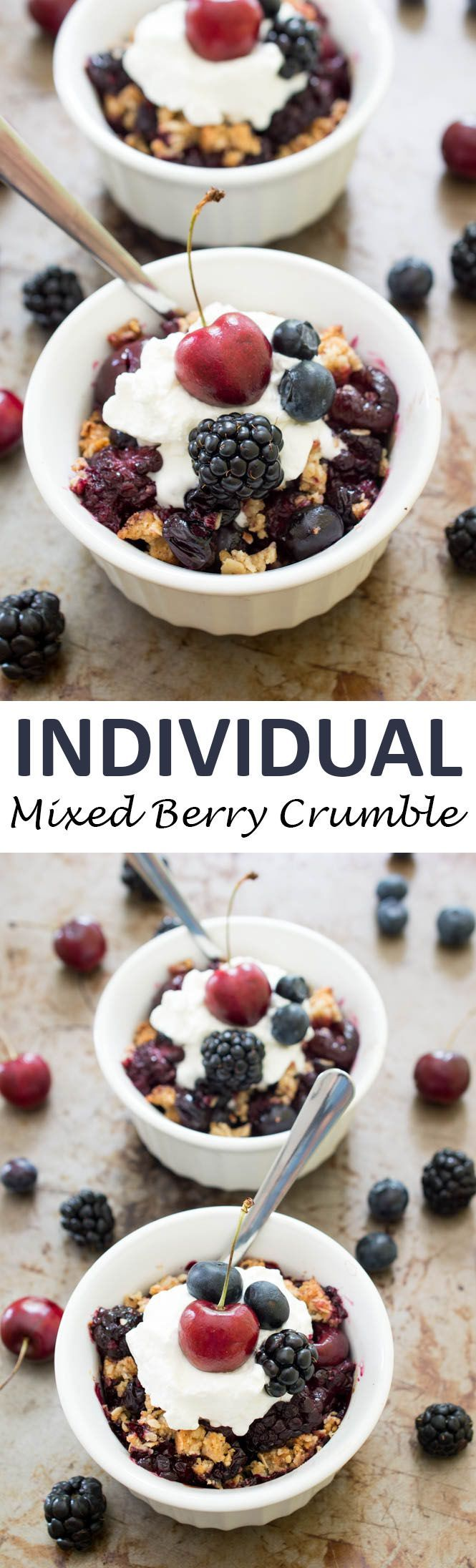 Individual Mixed Berry Crisp loaded with fresh cherries, blackberries ...