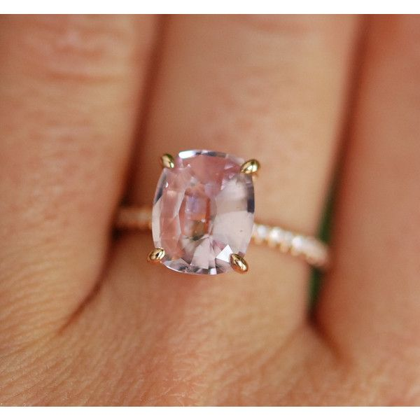 Blake Lively ring Blush Sapphire Engagement Ring oval cut 14k rose... ($3,100) ❤ liked on Polyvore featuring jewelry, rings, sapphire ring, 14k diamond ring, diamond rings, sapphire engagement rings and 14k ring
