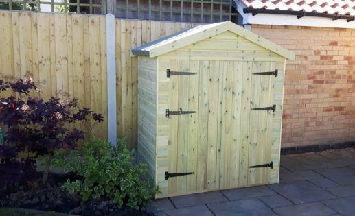 5ft Apex shed in heavy duty 16mm tanalised timber available in standard sizes or made to measure. Pent roof store shed ideal for bikes, mowers, tools