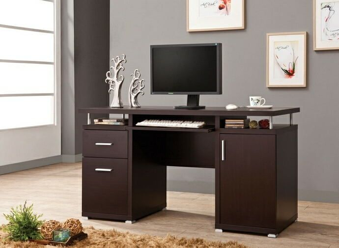 800107 Shaleigh Tracy Espresso Finish Wood Office Computer Desk With File Cabinet Drawer And Open Cabinet Furniture Computer Desk Contemporary Computer Desk Computer Desks For Home
