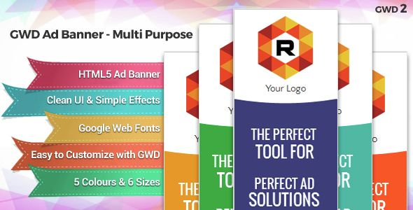 GWD Ad Banner Ver2 . GWD has features such as High Resolution: Yes, Compatible Browsers: IE9, IE10, IE11, Firefox, Safari, Opera, Chrome, Software Version: Google Web Designer