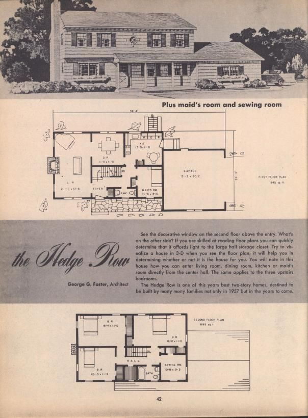 This Years Best Homes 1957 Vintage House Plans How To Plan Maids Room