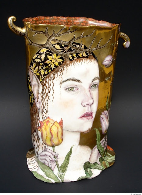 Former book illustrator now porcelain Artist
