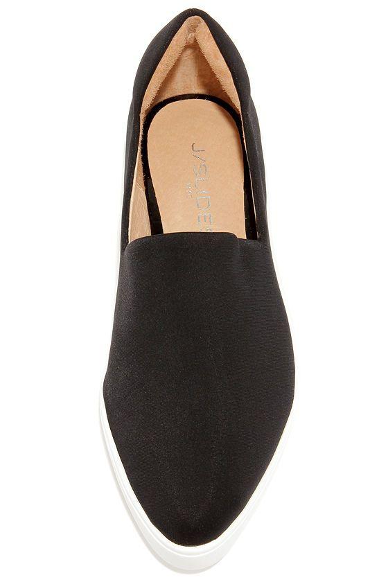 J Slides Dibbie Black and White Slip-On Sneakers at Lulus.com!