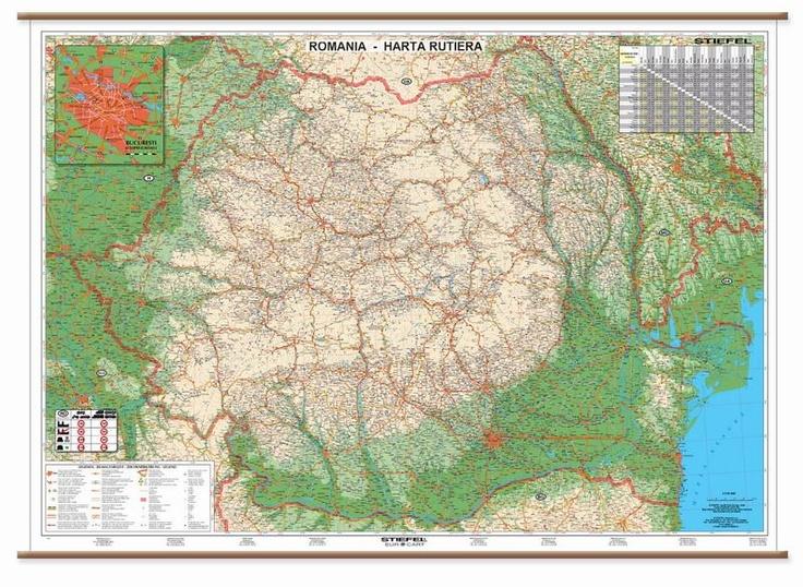 Harta contine toate drumurile nationale principale, drumurile nationale secundare, drumuri judetene, alte drumuri pavate sau nepavate, autostrazi si viitoarele autostrazi  Harta contine municipii, orase, comune si sate din Romania.