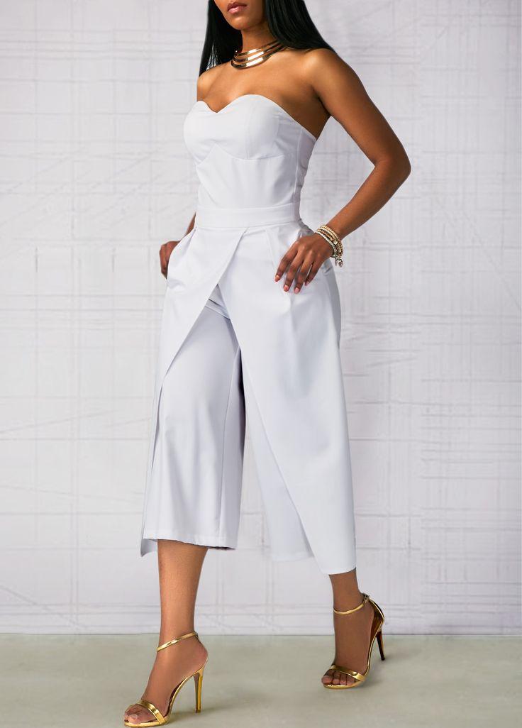 Zipper Back White Open Back Pocket Jumpsuit on sale only US$33.95 now, buy cheap Zipper Back White Open Back Pocket Jumpsuit at liligal.com