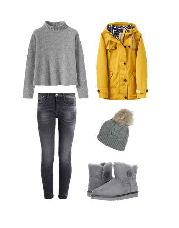 #inspiration Outfit con botas ugg grises #outfits #ugg #ugggrises jersey gris + vaqueros grises + abrigo mostaza + ugg grises + gorro con pelo + outfit casual invierno 2017 / 2018 || gray sweater + gray jeans + mustard coat + gray ugg boots + beanie+Winter Casual Outfit 2017