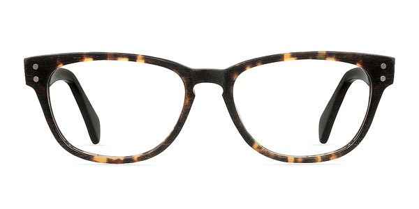 These black and tortoise eyeglasses are deeply cultivated. This full plastic wayfarer frame features a simulated wood grain texture. The frame front has a fiery tortoiseshell finish, double stud accents, and keyhole nose bridge. The flexible contrasting bold temples are a matte black. @EyeBuyDirect