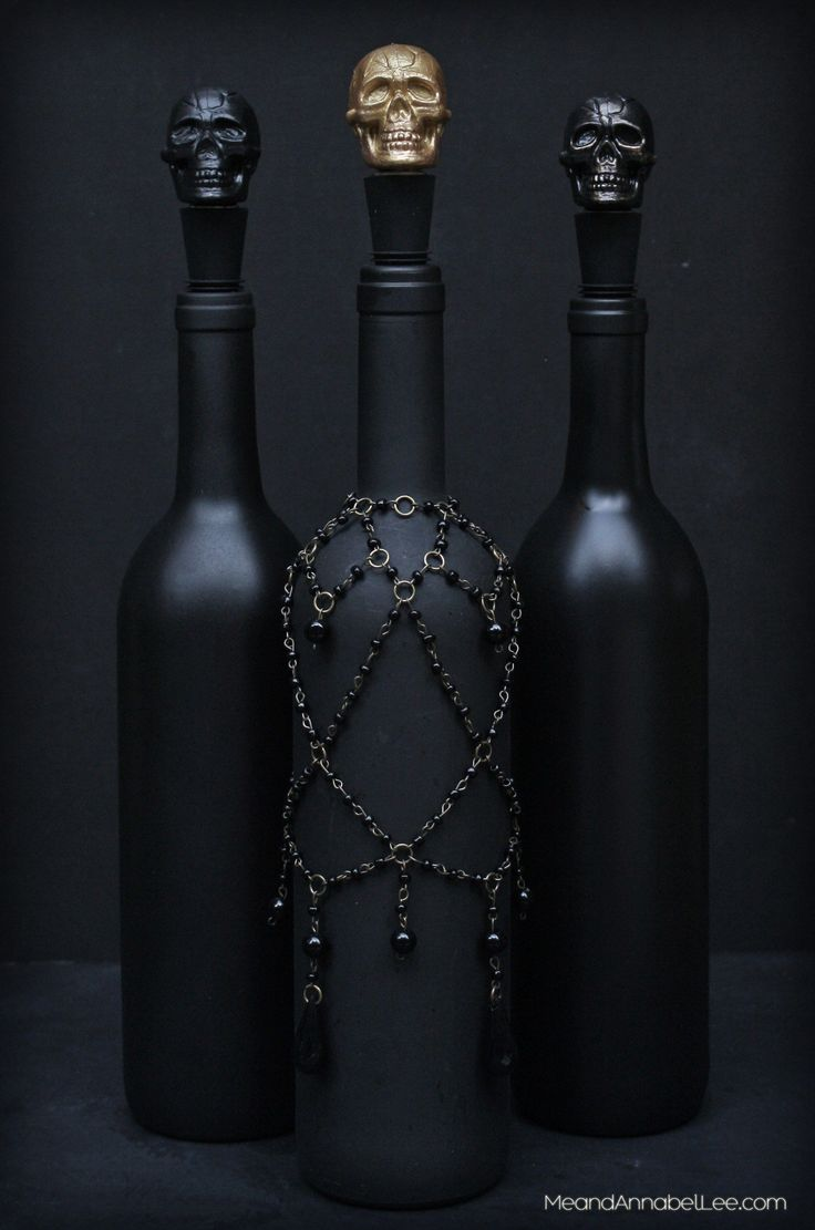 DIY Black Skull Wine Bottle Stopper Halloween Party Decor