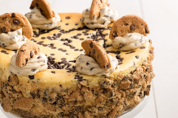 Chocolate Chip Cookie Dough Cheesecake http://www.delish.com/cooking/recipe-ideas/recipes/a46039/chocolate-chip-cookie-dough-cheesecake-recipe/