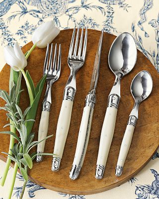laguiole flatware in ivory $89 (5 piece set)   would like better in black handles