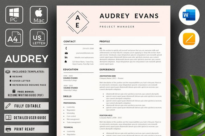 Modern Resume With Logo Project Manager Cv Pink Resume 561163 Resume Templates Design Bundles Project Manager Resume Resume Design Template Resume Templates