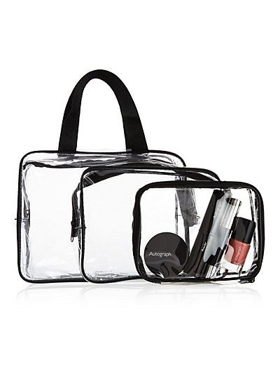 6.50 - Outstanding Value 3 Piece Clear Cosmetic Bag Set | M&S