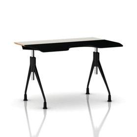 Herman Miller Envelop Desk    - White Laminate Surface  - Height Adjustable Legs  - Black Umber Base  - Glides
