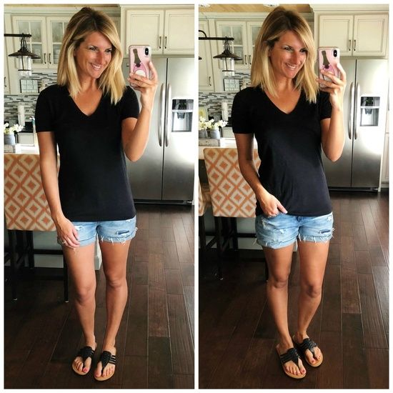 Casual Summer Outfit // Under $20 black v-neck tee [so soft and non sheer] // Perfect Distressed cuffed shorts for Spring and Summer // Summer Fashion