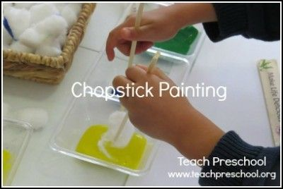 Chopstick painting by Teach Preschool