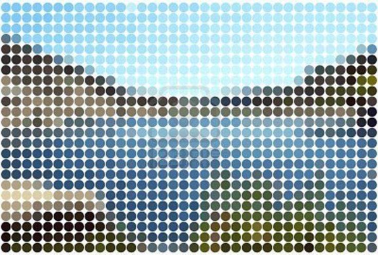 paisaje de fondo con círculos de colores sólidos en efecto mosaico de azulejos y baldosas   Foto de archivo