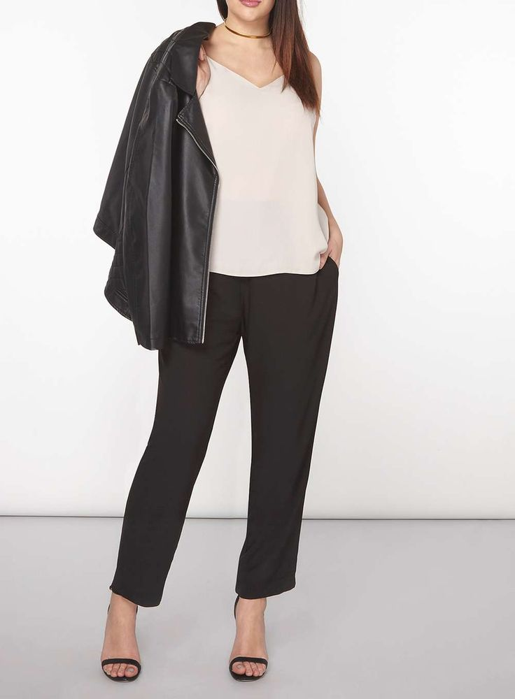 Womens DP Curve Plus Size Black Matte Tapered Trousers- Black