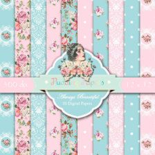 Sempre bello - istante scaricare, documenti digitali, Shabby Chic, carta Scrapbook, carta Decoupage, carta floreale, fiori, Rose, rosa, blu