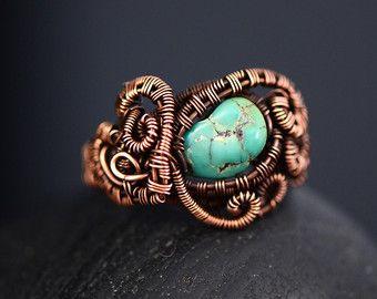 Peridoot edelsteen ring sieraden koperdraad blad door OrioleStudio
