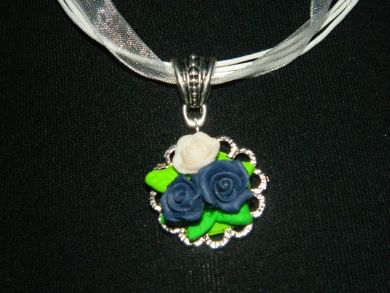 Pendent: Delicate bouquet of fresh roses Blue and White by EVAMARE