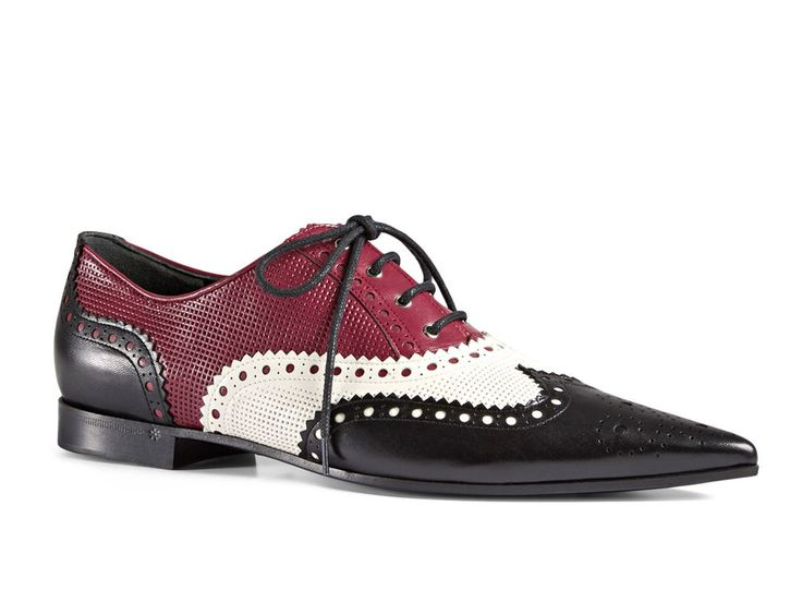 Gucci women's italian calf leather wingtips lace-ups brogues pointed toe shoes #Gucci #Oxfords