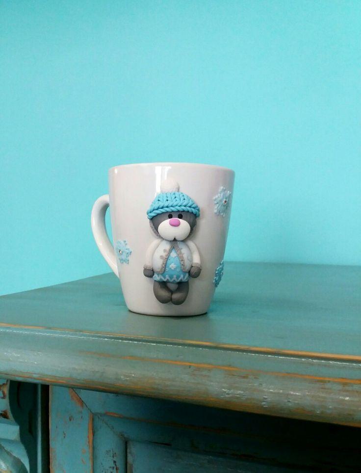 Snow Teddy polymer clay mug