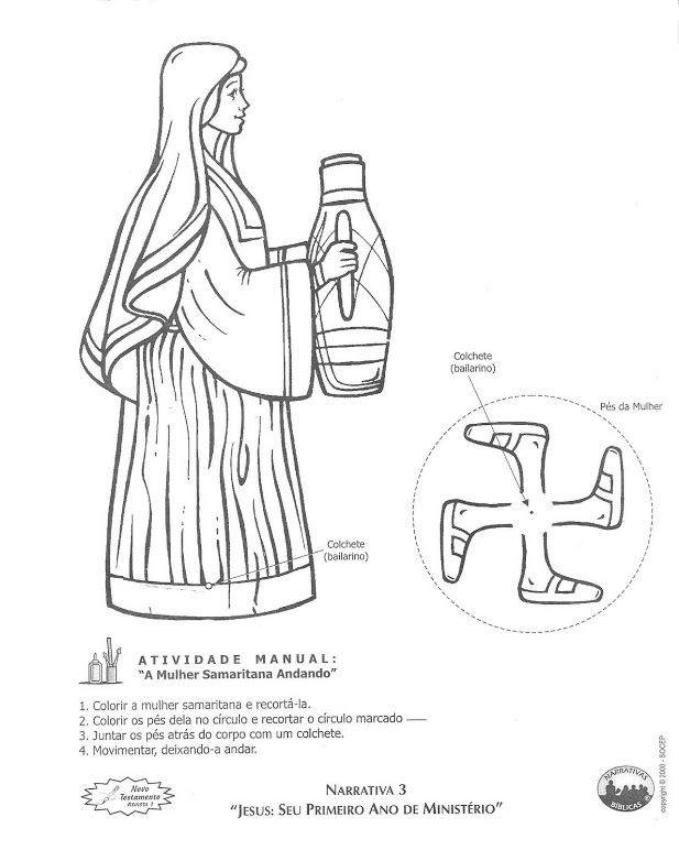 John Jesus Met A Samaritan Woman Walking Coloring Page Or Craft This Is In Foreign Language But It Self Explanatory