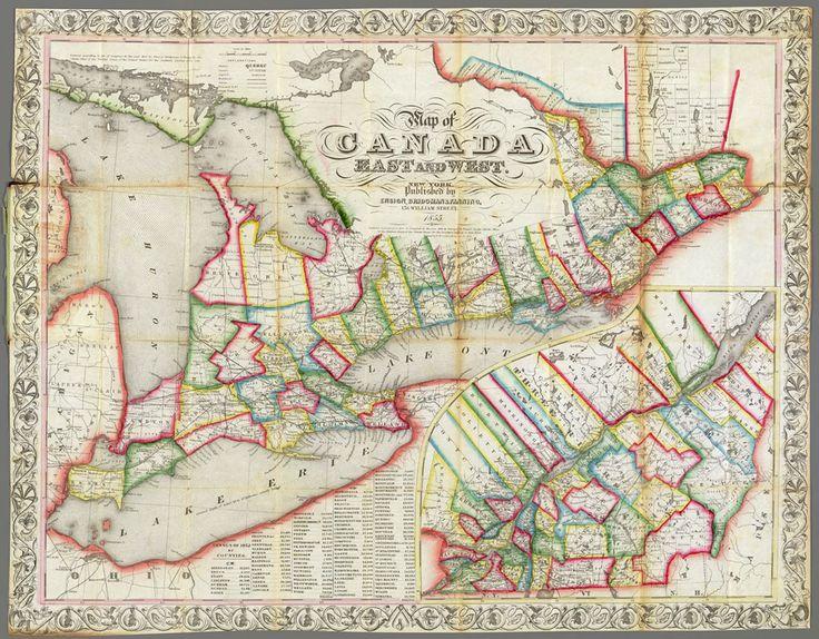Carte de l'est et de l'ouest du Canada
