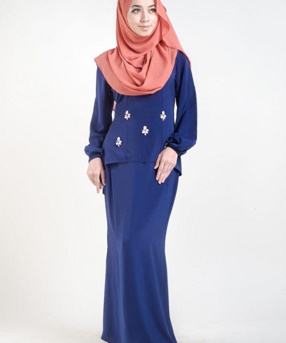 baju kurung moden asyhura blue