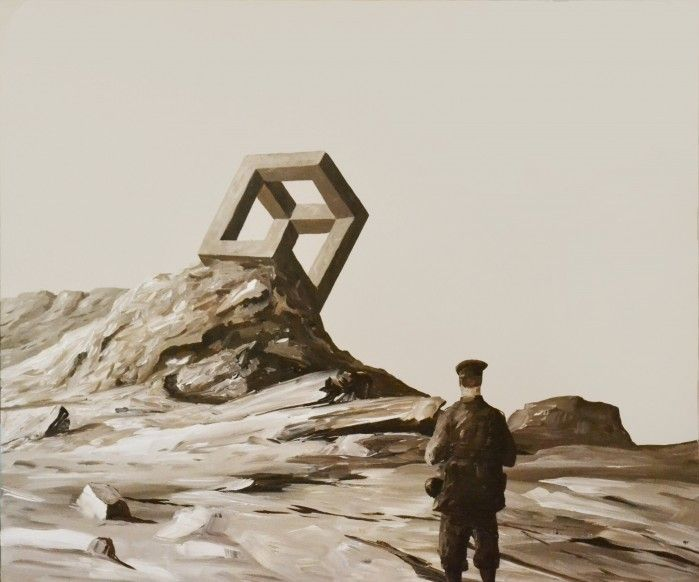 IMPOSSIBLE OBJECTIVE acrylic on canvas by Ben Tankard   $650 available to buy at www.bluethumb.com.au/bentankard #surrealism #art #painting