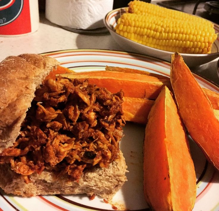 Pulled-Chipotle Chicken Buns with Sweet Potato Wedges and Corn. Recipe from the 'Saturday-Night Specials' extra book with the SW magazine.