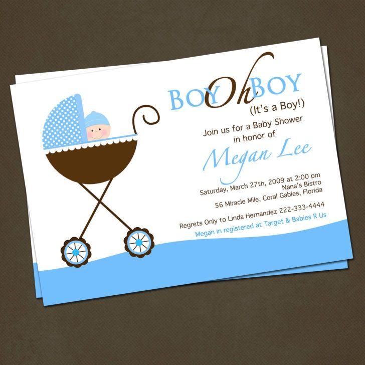 Baby Boys Stroller Baby Shower Invite Wording