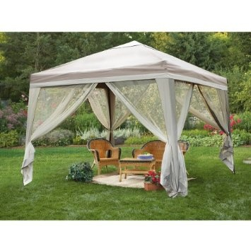 Deluxe 10x10 foot Backyard Gazebo: Patio, Lawn & Garden <--- like one of these with the hanging rice lights hanging wreaths