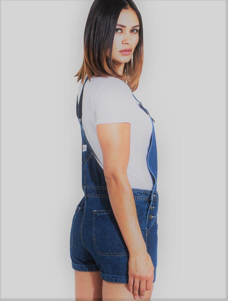 IMOGEN Womens Dungaree Shorts Palewash
