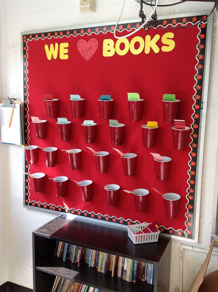 Interactive reading board!  Each student will fill their cup with books they read in and out of school throughout the year!  I used paint sample slips from a local hardware store!  Thank you!  Students can check out their peer cups for ideas and we will total books read by class at end of each trimester!
