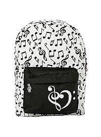 HOTTOPIC.COM - Black & White Music Note Backpack