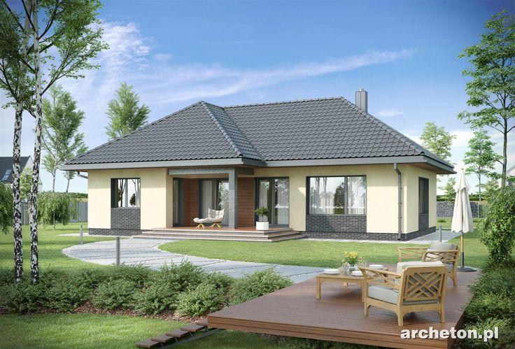 Projekt domu Tymon - atrakcyjny dom parterowy, na planie litery T, z garażem na dwa samochody ceramika - Archeton.pl