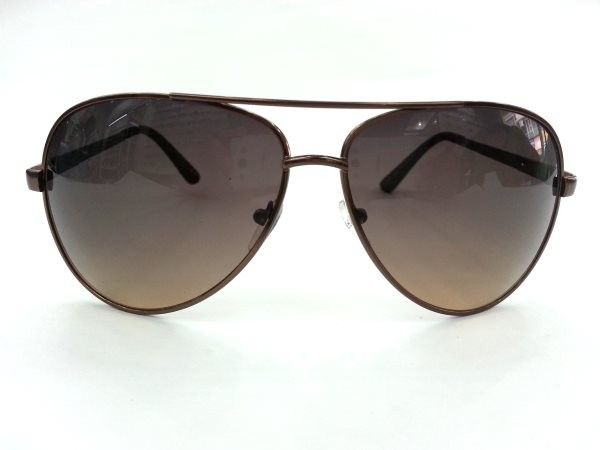 Aviator Medium Brown Metal Sunglasses