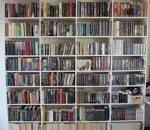 onze boekenkast die staat bij de ingang