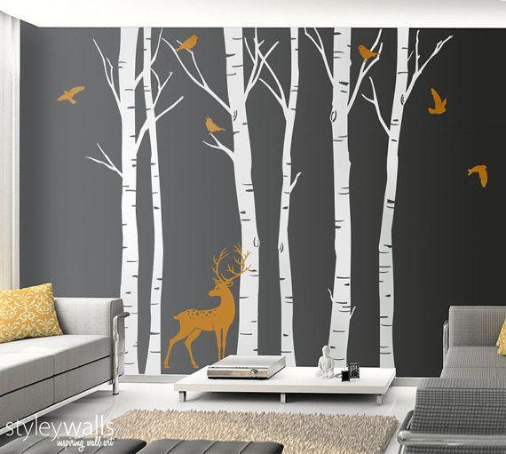 Bouleau arbres mur autocollant hiver arbres mur décalque Deer Wall Decal oiseaux en hiver Nature mur autocollant Birch Tree Decoration murale, Sticker arbre forestier
